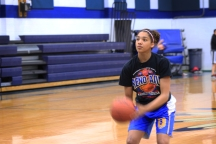 Gabby practicing form shooting