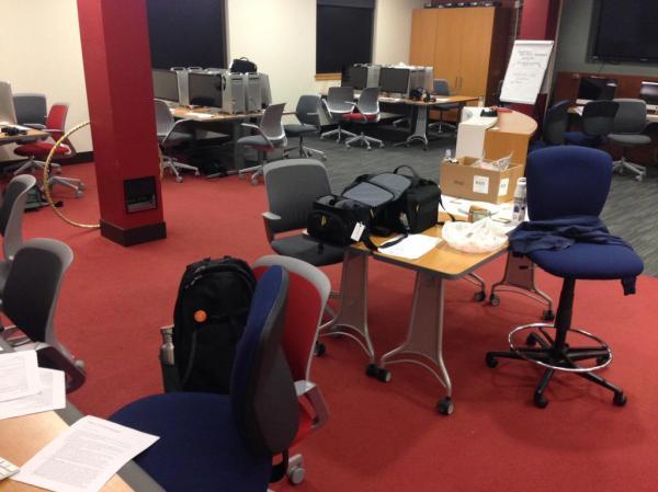 The NPR Bootcamp newsroom after dark.