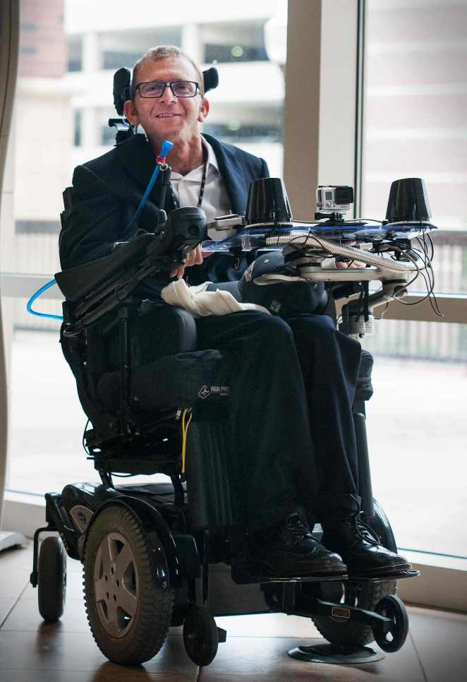 Jesse Leaman's smart chair includes a laptop with an infrared tracking system so he can work on a computer like any other able-bodied person. He also has it outfitted with a backup camera, GoPro and speakers. CREDIT: Ryan Smith