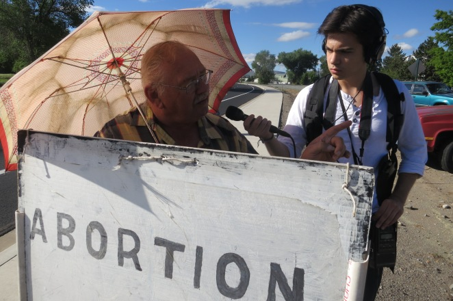 The first time I had ever interviewed a pro-life protester. (Photo by Nico Colombant)
